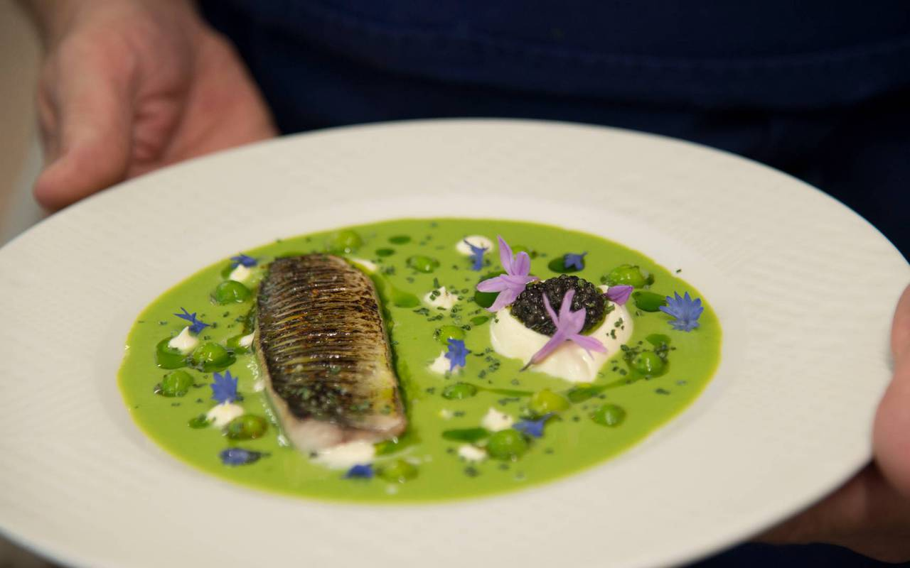 View on a gastronomic plate elaborated by the chefs of the starred restaurant Coté Cuisine