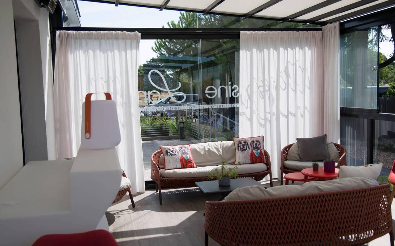View of the veranda of the hotel Lann Roz located in Carnac in Brittany, hotel restaurant Carnac Morbihan