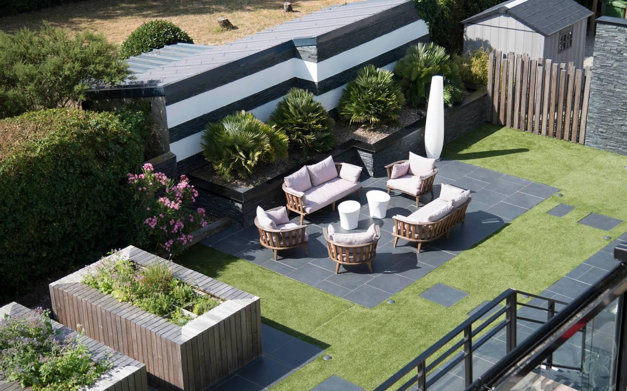 Vue aérienne de l'exterieur de l'hôtel 3 étoiles Lann Roz